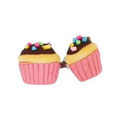 Pink chocolate cupcake earrings