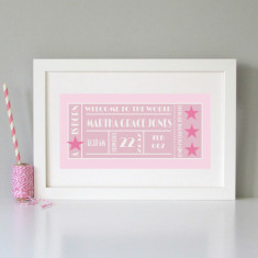 Personalised ticket-style baby art print (various colours)