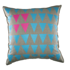 Set of 2 blue & pink triangles cushion covers