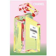 Chanel bottle print in pink & green