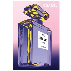 Pink and purple Chanel bottle print