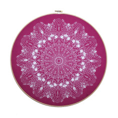 Handmade embroidery hoop doily screen print in fuchsia