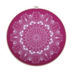 Handmade embroidery hoop doily screen print in fuchsia