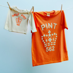 Matching pint and half pint t-shirt set for dad and child (orange & stone)