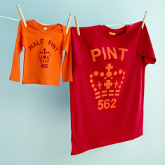 Matching pint and half pint t-shirt set for dad and child (red & orange)