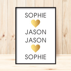 Custom lovers faux gold art print