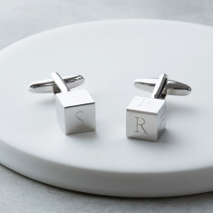 Personalised Engraved Cube Initial Cufflinks