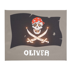 Pirate flag personalised illuminated canvas