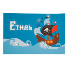 Pirate ship personalised illuminated canvas