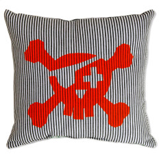 Pirate cushion in thin dark blue stripe