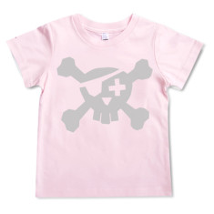 Pirate t-shirt in silver on pink