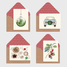 Pack of 8 Watercolour Illustration Christmas Greeting Cards