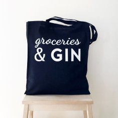 Groceries and gin tote bag