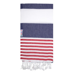 Mammamas Turkish Towel in Reef Navy/Raspberry
