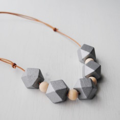 Geometric wood necklace (Silver or Gold)