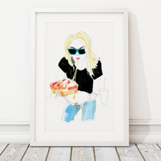 Limited edition pizza girl giclee fashion print