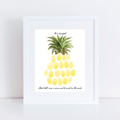 Pineapple fingerprint guest book and ink