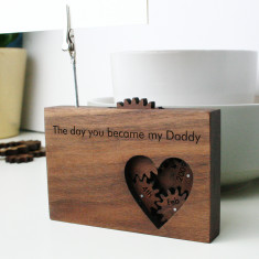 Personalised hidden message solid walnut photo holder
