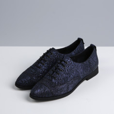 Women's Davie textured navy leather oxford shoes