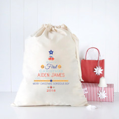Baby boys first Christmas personalised Santa sack