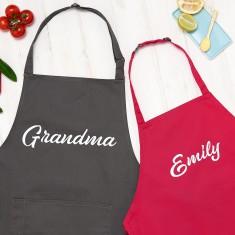 Personalised Grandma And Child Name Apron Set