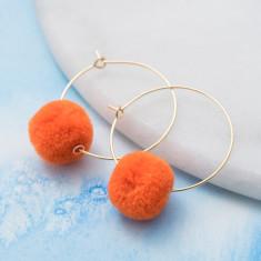 Orange pompom hoops