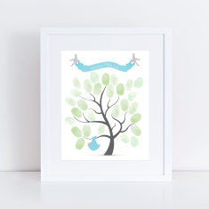 Baby shower boy's fingerprint guest book tree and ink