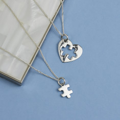 Mum And Me Jigsaw Heart Sterling Silver Necklace Set