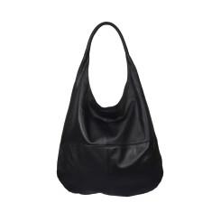 Claudia leather shoulder bag in black