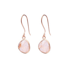 Pebble single stone drop earrings with morganite