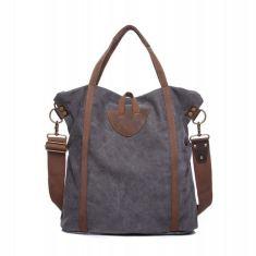 Canvas tote shoulder bag in grey