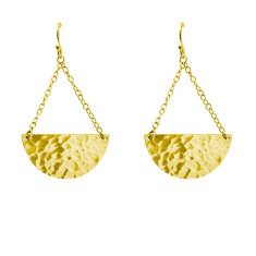Moon & Back Earrings in 18 KT Yellow Gold Plate