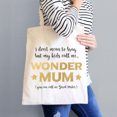 Personalised Golden Wondermum Tote Bag