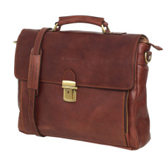 Monaco leather briefcase in brown