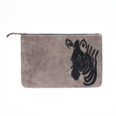 nooki design - suede beaded grey zebra clutch