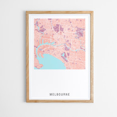 Melbourne contemporary map print (various colours)