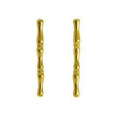 Bamboo Vertical Earrings in 22KT Yellow Gold Plate