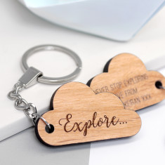 Personalised Wooden Cloud Key Ring