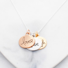 Love, Live, Laugh necklace in rose gold, silver and gold