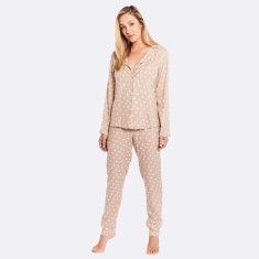 Raffles Long PJ Set Latte / Ivory