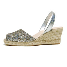 Lluna leather sandals in pewter glitter
