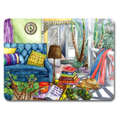 Beach holiday placemat & coaster set