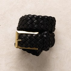 Plaited jeans belt in black