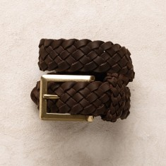 Plaited jeans belt in chocolate