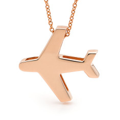 Gold aeroplane necklace