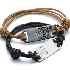 Men's personalised ID plate bracelet