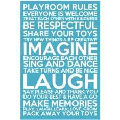 Playroom rules bus scroll canvas (ready to hang)