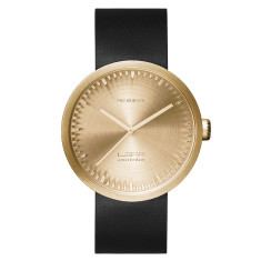 LEFF Amsterdam tube watch D42 with black leather strap brass finish