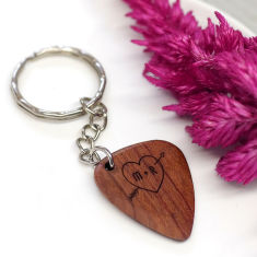 Personalised wooden heart and initial plectrum key ring