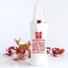 Personalised We Wish You wine bag